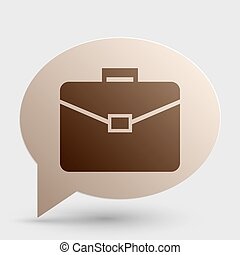 Briefcase sign illustration. Brown gradient icon on bubble with shadow.