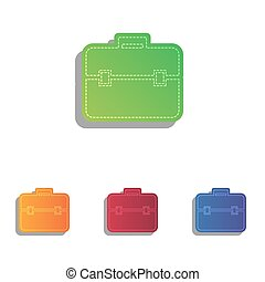 Briefcase sign illustration. Colorfull applique icons set.