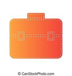 Briefcase sign illustration. Orange applique isolated.