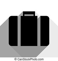 Briefcase sign illustration. Vector. Black icon with two flat gray shadows on white background.