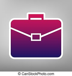 Briefcase sign illustration. Vector. Purple gradient icon on white paper at gray background.