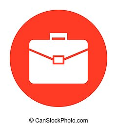 Briefcase sign illustration. White icon on red circle.