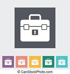 Briefcase single flat icon.