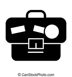 Briefcase solid icon. Portfolio with stickers vector illustration isolated on white. Bag glyph style design, designed for web and app. Eps 10.