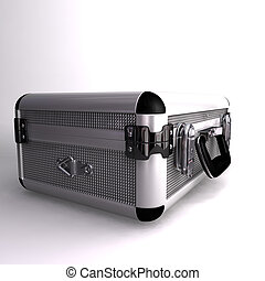 briefcase - A 3D render of a Silver toned metal briefcase