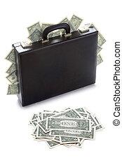 briefcase stuffed with dollar bills