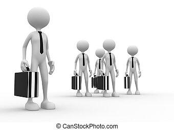 briefcase., team., リーダーシップ, 人, 3d