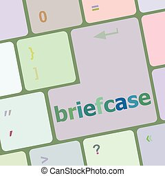 Briefcase text button on keyboard with soft focus vector illustration