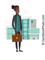 briefcase., uomo affari, giovane, presa a terra, africano