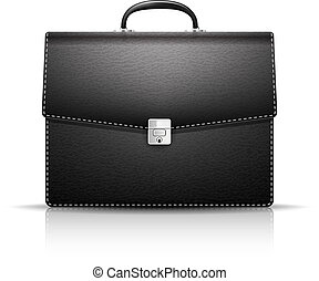 Briefcase - Black Briefcase with leather texture isolated on...