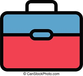 briefcase vector colour line icon