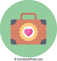 briefcase vector flat colour icon