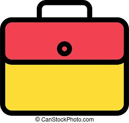 briefcase vector line colour icon
