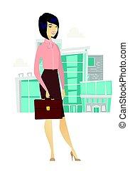 briefcase., vrouw, aziaat handel, vasthouden