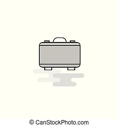 Briefcase Web Icon. Flat Line Filled Gray Icon Vector