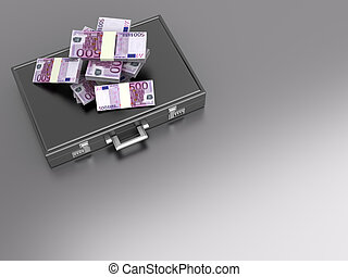 Briefcase with Cash - A Briefcase and Euros in Cash. 3D...