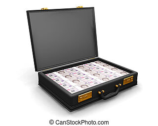 Briefcase with money - 3D render of a briefcase full of ...