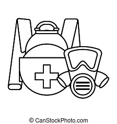 briefcase with safety mask on white background