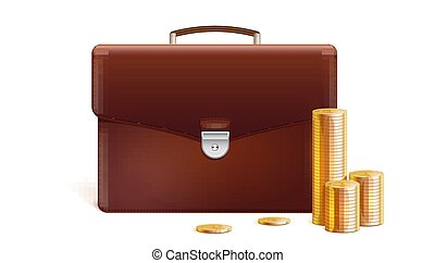 Briefcase with stacks of golden coins isolated on white background. Vector 3d illustration