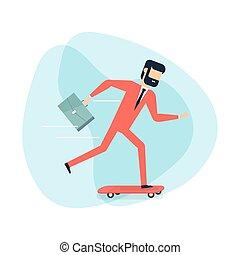 briefcase., zakenman, skateboard
