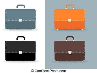 briefcases., 平ら, アイコン, set., 色, ベクトル, 4