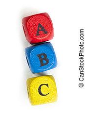 briefe, a, b, c, auf, würfel