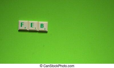 """briefe, geschaffen, wort, """"february"""", hintergrund, grün"""