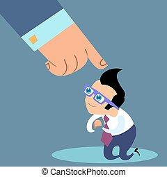 briefing, affärsman, huvud, underkastelse, kontor