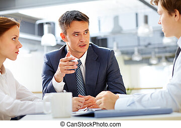 Briefing - Business leader asking his employee about results...