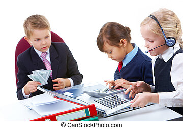 Briefing - Photo of busy girls working at meeting with their...