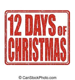 briefmarke, 12, tage, weihnachten