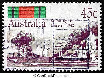 briefmarke, australia, 1992, bombardierung, von, darwin, 1942