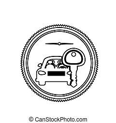 briefmarke, auto, silhouette, schlüssel