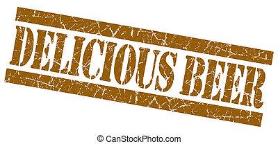 briefmarke, brauner, bier, grunge, köstlich