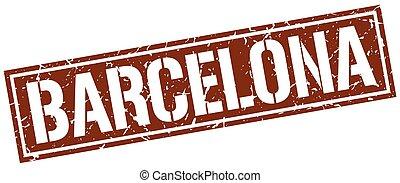briefmarke, brauner, quadrat, barcelona