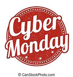 briefmarke, cyber, montag