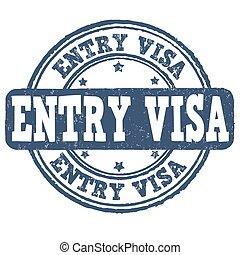 briefmarke, eintrag, visum