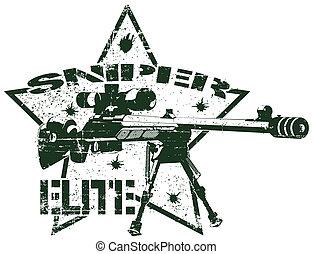 briefmarke, elite, heckenschütze