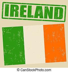 briefmarke, fahne, grunge, irland