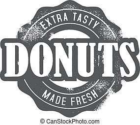briefmarke, frisch, backstube, gemacht, donuts