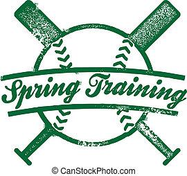briefmarke, fruehjahr, training, baseball