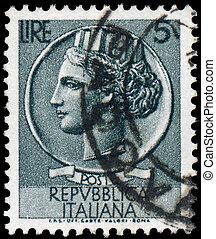 briefmarke, gedruckt, 1953:, reihe, turrita, italien, -, shows, italia, 1953, zirka