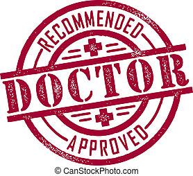 briefmarke, genehmigt, doktor