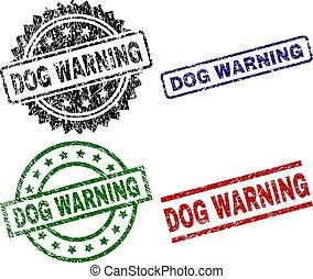 briefmarke, grunge, dichtungen, textured, warnung, hund