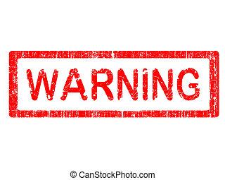 briefmarke, grunge, warnung, -, buero