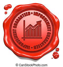 briefmarke, guaranteed, -, verbesserung, seal., wachs, rotes...