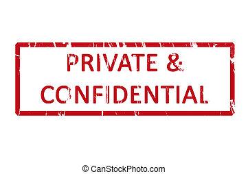 briefmarke, gummi, privates büro, vertraulich