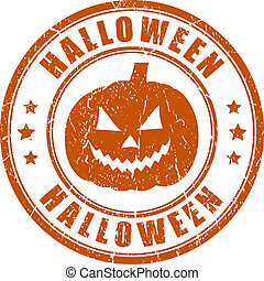 briefmarke, halloween, grunge