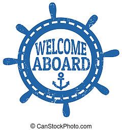 briefmarke, herzlich willkommen, bord