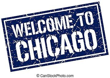 briefmarke, herzlich willkommen, chicago